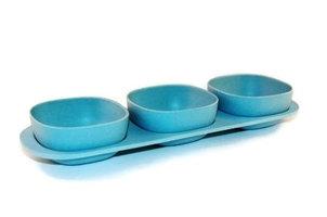 Bamboe 3-baks snackset op serveerschaal blauw
