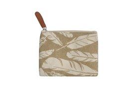 Fairtrade portemonnee Creme Feather. Linnen beurs met rits