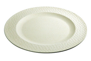 Bamboe Dinerbord Hammered Large Plate Coconut White, Ø27,5cm