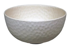 Bamboe kom van Zuperzozial: Medium Bowl Hammered wit, Ø15cm