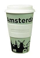 Zuperzozial Bamboe koffiebeker, Cruising travel mug Amsterdam