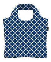 Ecozz opvouwbare shopper met rits Squares Blue