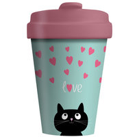 BambooCup Koffie-to-go, volledig bamboe koffiebeker Kitty Love