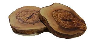 Boomstam onderzetter van 100% Olijfhout ca. 15-20cm