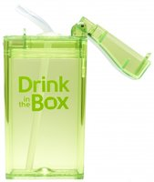Drink in the Box Groen, herbruikbaar drink pakje met rietje.