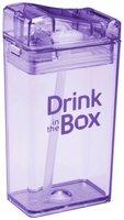 Drink in the Box Paars, herbruikbaar drink pakje met rietje.