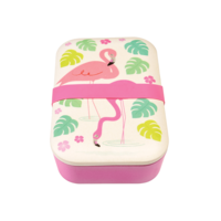Rex London grote Bamboe Lunchbox Flamingo - Eco broodtrommel