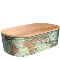 BambooFriends de Luxe Bamboe Lunchbox met houten deksel WorldMap