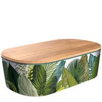 BambooFriends de Luxe Bamboe Lunchbox met houten deksel Exotic Leaves