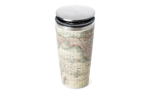 Bamboo SlideCup koffie to go thermos beker Antique Map.