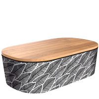 BambooFriends de Luxe Bamboe Lunchbox met houten deksel Black-White
