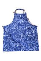 FairTrade Schort van Sari, katoen naturel/blauw