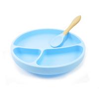 MiniKoioi blauw vakken bordje van siliconen met zuignap