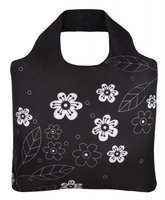 Ecozz opvouwbare Ecoshopper van rPET, Black and White flowers