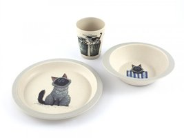 YuuNaa Bamboe kinder servies set met Harry de kat