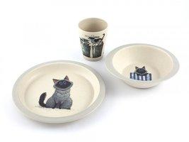 YuuNaa Bamboe kinder servies set met Harry de kat