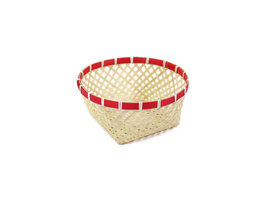 FairTrade rond mandje van naturel bamboe met rode band