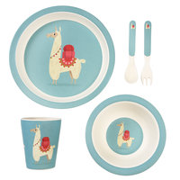 Bamboe kinder servies set Dolly de Llama