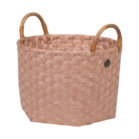 Handed By Basket Dimensional Copper Blush S, mand van gevlochten gerecyled plastic
