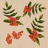 Naturals papieren servet rode bessen print, 25x25cm gerecycled/ongebleekt