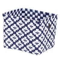 Handed By Regtangular Basket Navy White, Medium