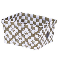 Handed By Regtangular Basket Olive White, Extra Small