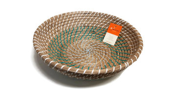 FairTrade mand/schaal rond van Seagrass turquoise