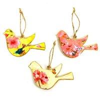 Imbarro metalen vogel hangers Birdy Summer, set van 3