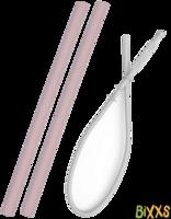 MiniKOiOi flexi straws, siliconen rietjes met borstel - roze