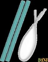 MiniKOiOi flexi straws, siliconen rietjes met borstel - groen