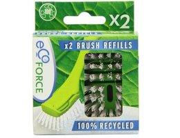 Ecoforce 2x vervangende borstel kop van gerecycled plastic