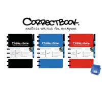 Correctbook blanco notitieboek A5  met pen en wisdoekje - diverse kleuren