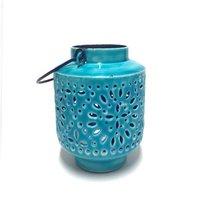 Only Natural Fairtrade Iron Lantern - turquoise