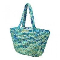 FairTrade shopper van geryclede plastic zakken in mixed-blauw/wit
