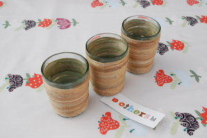FairTrade Waxinehouder Glas met Seagrass naturel