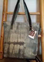 FairTrade Denim & Rubber tas met rits