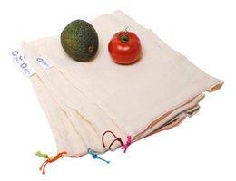 AhTable herbruikbare groentezakjes van Biologisch katoen 20x28cm