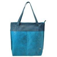 FairTrade Semi-Ecoleren shopper Donkerblauw-Aqua