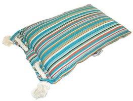 Only Natural Fairtrade kussen, blauwe streep met touw aan de zijkant.