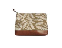 Fairtrade pouch Creme Feather. Linnen tasje met rits