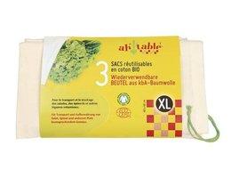 AhTable herbruikbare groentezakken XL van Biologisch katoen 40x40cm
