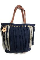 Imbarro Bag Dalia Blue, blauwe katoenen shopper