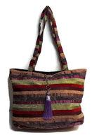 Fairtrade handgeweven tas Teranga streep bruin