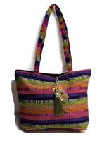 Fairtrade handgeweven tas Teranga streep paars