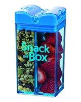 Snack in the Box Blauw, herbruikbaar snack pakje met twee vakken.