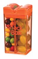 Snack in the Box oranje, herbruikbaar snack pakje met twee vakken.