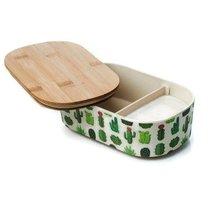 BambooFriends de Luxe Bamboe Lunchbox met houten deksel Cactus
