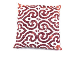 Fairtrade sierkussen met Oosterse print in Bordeaux