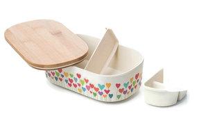 BambooFriends de Luxe Bamboe Lunchbox met houten deksel Heart Garden
