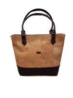 Handtas van kurk met lange handgrepen, naturel-bruin